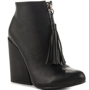YRU Black Tassel Booties